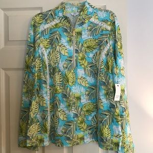 Crown and Ivy Tropical Palm Print Popover NWT